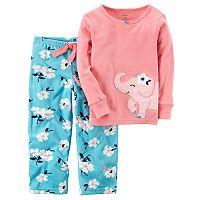 Baby Girl Carter's Embroidered Animal Applique Top & Microfleece Bottoms Pajama Set