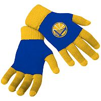 Adult Forever Collectibles Golden State Warriors Knit Colorblock Gloves