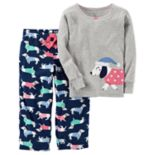 Toddler Girl Carter's Embroidered Animal Applique Top & Microfleece Bottoms Pajama Set