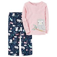 Baby Girl Carter's Applique Striped Top & Microfleece Bottoms Pajama Set