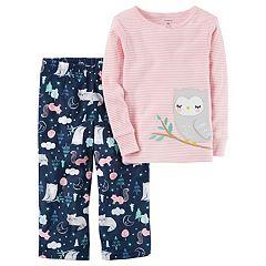 Baby Girl Carter's Applique Striped Top & Microfleece Bottoms Pajama Set