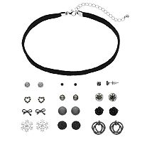 Mudd® Glittery Velvet Choker Necklace & Stud Earring Set