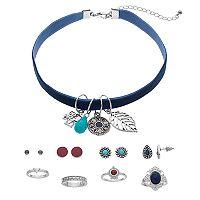 Mudd® Elephant Charm Velvet Choker Necklace, Stud Earring & Ring Set
