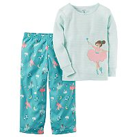Toddler Girl Carter's Applique Striped Top & Microfleece Bottoms Pajama Set