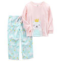 Baby Girl Carter's Embroidered Applique Top & Microfleece Bottoms Pajama Set