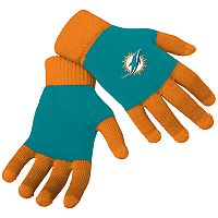 Adult Forever Collectibles Miami Dolphins Knit Colorblock Gloves