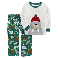 Toddler Boy Carter's Animal Applique Top & Microfleece Bottoms Pajama Set