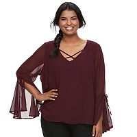 Juniors' Plus Size HeartSoul Bell Sleeve Chiffon Top