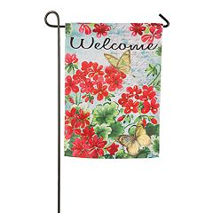 Evergreen 18' x 12.5' Floral 'Welcome' Indoor / Outdoor Garden Flag