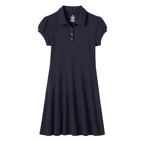 Girls 4-14 Chaps School Uniform Fit & Flare Short-Sleeved Dress