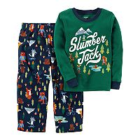 Toddler Boy Carter's Graphic Top & Patterned Microfleece Bottoms Pajama Set