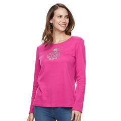 Women's Croft & Barrow® Holiday Long-Sleeve Crewneck Tee