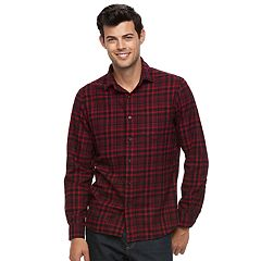 Big & Tall Apt. 9® Modern-Fit Plaid Brushed Flannel Button-Down Shirt