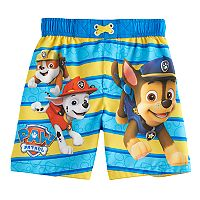 Toddler Boy Paw Patrol Chase, Rubble & Marshall Swim Trunks