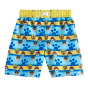 Toddler Boy Paw Patrol Chase, Rubble & Marshall Paw Print Swim Trunks