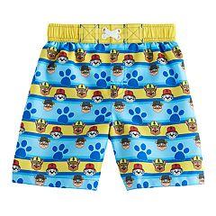 Toddler Boy Paw Patrol Chase, Rubble & Marshall Paw Print Swim Trunks