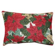 Park B. Smith Holiday Scroll Poinsettia Oblong Throw Pillow