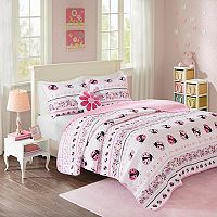 Mi Zone Kids Pink Lady Ladybug Coverlet Set