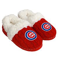 Women's Forever Collectibles Chicago Cubs Cable Knit Slippers