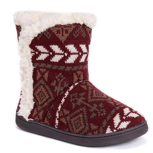Women's MUK LUKS Cheyenne Knit Boot Slippers