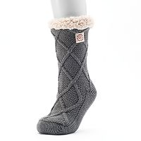 Women's Dearfoams Lattice Cable Knit Gripper Slipper Socks