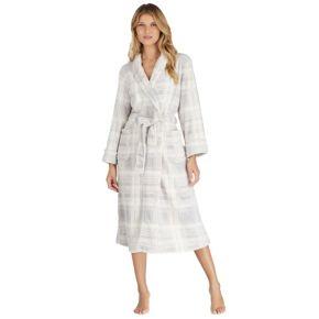 Women's Stan Herman Plaid Plush Long Robe