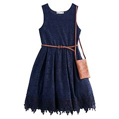 Girls 7-16 Knitworks Lace Belted Skater Dress with Crossbody Purse