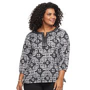 Plus Size Cathy Daniels Print Sequin Top