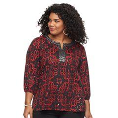 Plus Size Cathy Daniels Print Sequin Top