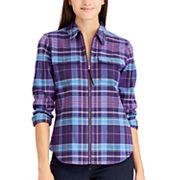 Women's Chaps Plaid Full-Zip Shirt