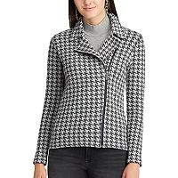 Women's Chaps Houndstooth Moto Jacket