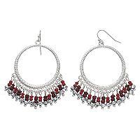 Red Bead Nickel Free Hoop Drop Earrings