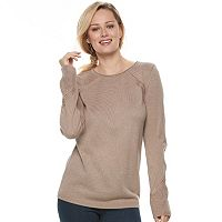 Women's Apt. 9® Metallic Pointelle Crewneck Sweater