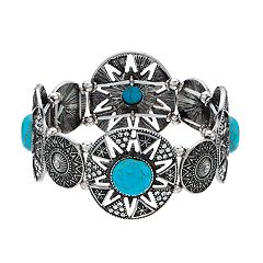 Simulated Turquoise Textured Stretch Bracelet