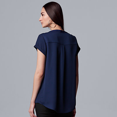 Petite Simply Vera Vera Wang Pleated Popover Top