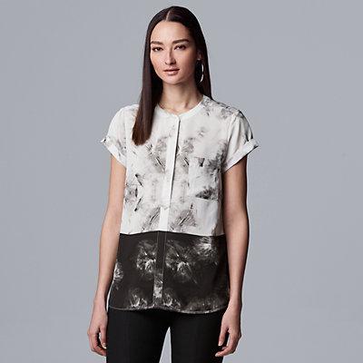 Petite Simply Vera Vera Wang Pleated Popover Top