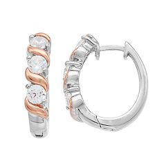 Lily & Lace Two Tone Cubic Zirconia S Hoop Earrings