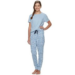 Juniors' Peace, Love & Fashion 2-pc. Jogger Sleep Set