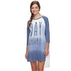Juniors' Peace, Love & Fashion Baseball Tee Sleepshirt