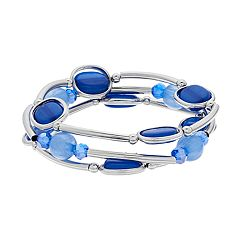 Blue Bead Multi Row Stretch Bracelet