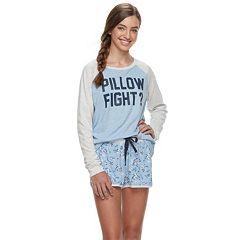 Juniors' Peace, Love & Fashion 2-pc. Short Sleep Set