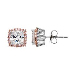 Lily & Lace Pink & White Cubic Zirconia Two Tone Square Halo Stud Earrings
