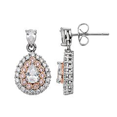 Lily & Lace Pink & White Cubic Zirconia Two Tone Teardrop Earrings