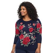 Plus Size Cathy Daniels Print Embellshed Sweater