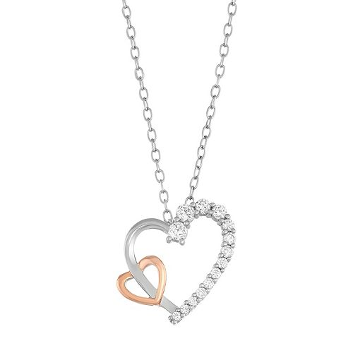 Lily & Lace Two Tone Cubic Zirconia Double Heart Pendant