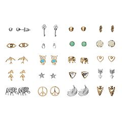 Mudd® Elephant, Owl, Arrow & Peace Sign Stud Earring Set