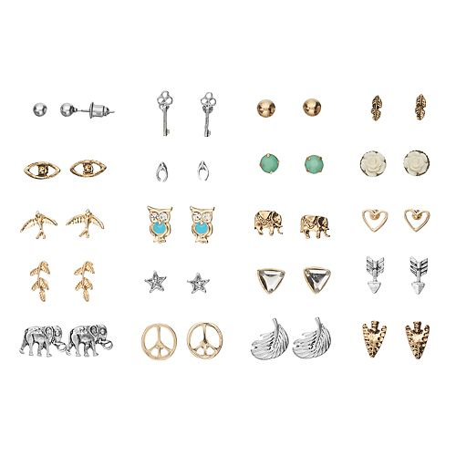 Mudd® Elephant, Owl, Arrow & Peace Sign Stud Earring Set