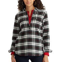 Women's Chaps Buffalo Plaid Cotton Pullover