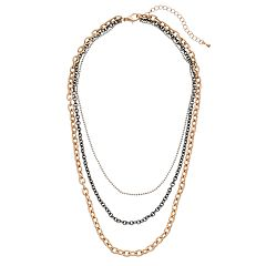Mudd® Tri Tone Multi Strand Necklace