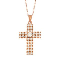 Lily & Lace 14k Rose Gold Plated Cubic Zirconia Cross Pendant Necklace